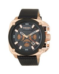 DIESEL - Multicolor Men's Analog Leather Strap Watch, 55mm X 57mm for Men - Lyst