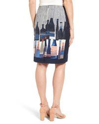 NIC+ZOE Blue Spring Bottles Skirt