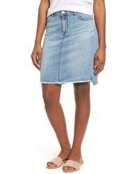 Caslon Blue Frayed Hem Denim Skirt