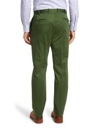 JB Britches - Green Flat Front Solid Stretch Cotton Trousers for Men - Lyst