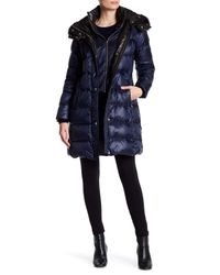 Andrew Marc - Blue Skylar Quilted Down Genuine Fur Trim Hood Jacket - Lyst