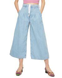 TOPSHOP - Blue Moto Pleat Tie Crop Wide-leg Jeans - Lyst