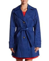 Via Spiga - Blue Hooded Waist Belt Trench Coat - Lyst