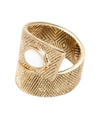 House of Harlow 1960 - White Tanta Crosshatch Stone Ring - Size 6 - Lyst