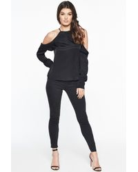 Bardot - Black Sky Cold Shoulder Top - Lyst
