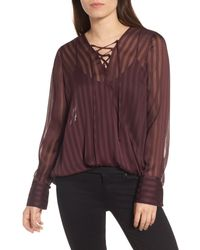 Trouvé - Purple Trouv? Sheer Shadow Stripe Top - Lyst