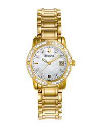Bulova - Metallic Women's Diamond Accent Bracelet Watch, 32mm - 0.10 Ctw - Lyst