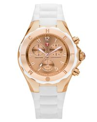 Michele - White 'tahitian Jelly Bean' Silicone Strap Watch, 40mm - Lyst