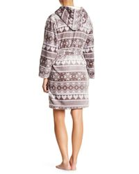 Catherine Malandrino - Gray Fair Isle Plush Hooded Robe - Lyst