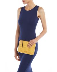 Elizabeth and James - Blue Croc Embossed Leather Zip Pouch - Lyst