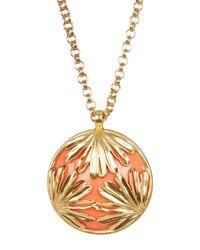 Trina Turk | Metallic Resin & Palm Leaf Pendant Necklace | Lyst