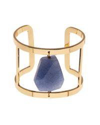 Carolee - Blue 12k Gold Stone Cutout Cuff - Lyst