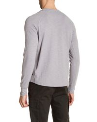 Good Man Brand - Gray Long Sleeve Henley Shirt for Men - Lyst