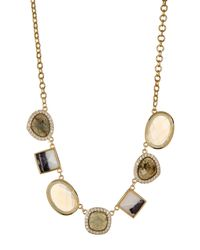 Cole Haan | Metallic 12k Gold Plated Semi-precious Stone & Pave Crystal Necklace | Lyst