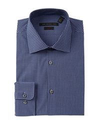 John Varvatos - Blue Slim Fit Dress Shirt With Stitch for Men - Lyst