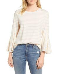 Everleigh White Stripe Bell Sleeve Top (regular & Petite)