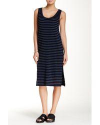 Splendid - Black 'monterosso' Stripe Mix Midi Dress - Lyst