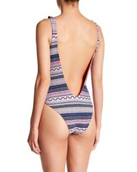 Red Carter - Blue Cali Knotted Side Maillot One-piece - Lyst