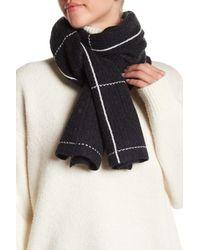Halogen - Black Wool & Cashmere Blend Windowpane Check Muffler - Lyst