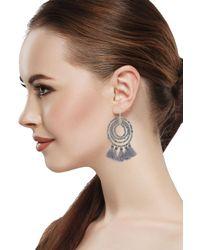 Saachi - Gray Vakala Beaded Tassel Drop Earrings - Lyst