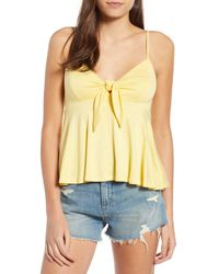 Hiatus - Yellow Knot Front Camisole - Lyst