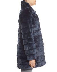 Eliza J - Blue Grooved Faux Fur Coat - Lyst