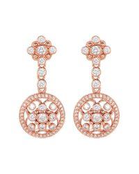 Judith Ripka - White Rose Gold Plated Sterling Silver Bezel Set Cz Halo Drop Earrings - Lyst