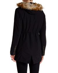 RACHEL Rachel Roy Black Faux Fur Trim Hooded Faux Shearling Lined Parka