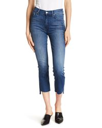 Mother - Blue Frayed Hem Crop Skinny Jeans - Lyst
