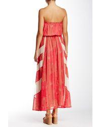 Sienna Rose - Red Strapless Print Maxi Dress - Lyst
