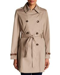 Via Spiga - Natural Double Breasted Bonded Trench Coat - Lyst