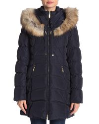 Laundry by Shelli Segal - Blue Windbreaker Faux Fur Trim Puffer - Lyst