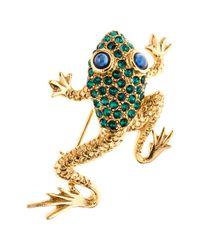 Oscar de la Renta - Green Pave Frog Brooch - Lyst