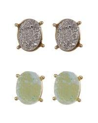 BaubleBar | Metallic Meteorite Druzy Stud Earrings Set - Set Of 2 | Lyst
