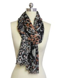 Saachi - Safari Black Brown Scarf - Lyst