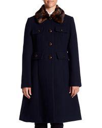 Kate Spade Blue Faux Fur Collar Back Bow Coat