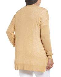 Sejour - Natural Easy V-neck Cardigan (plus Size) - Lyst