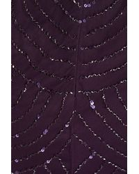 Adrianna Papell - Purple Sequin Mesh Blouson Dress - Lyst