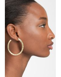 House of Harlow 1960 - Metallic Engraved Hoop Earrings - Lyst