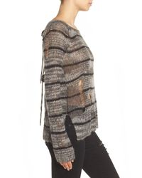Pam & Gela - Gray Stripe Back Split Sweater - Lyst