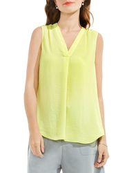 Vince Camuto - Yellow V-neck Rumple Blouse - Lyst