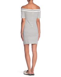 English Factory - White Off-the-shoulder Striped Mini Dress - Lyst