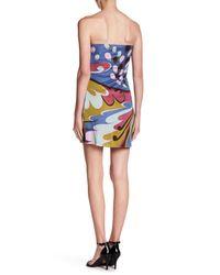 Sky - Multicolor Split V-neck Strapless Silk Dress - Lyst