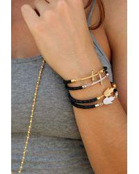 Liza Schwartz - Black Sterling Silver Cz Cross Leather Bracelet - Lyst
