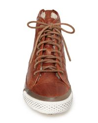 Frye - Brown Greene Back Zip Shearling Lined Leather High Top Sneaker for Men - Lyst