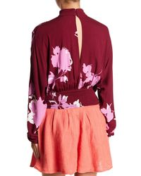 Free People - Red Floral Keyhole Shirt - Lyst