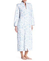 Carole Hochman - Blue Printed Long Sleeve Zip Robe - Lyst