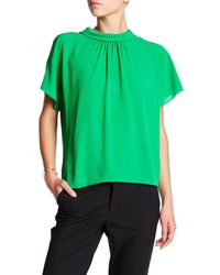 Vince Camuto - Green Shirred Mock Neck Blouse - Lyst