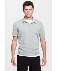 James Perse - Gray Jersey Short Sleeve Polo for Men - Lyst