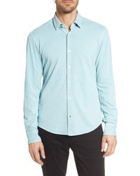 BOSS Blue Reid Slim Fit Solid Sport Shirt for men